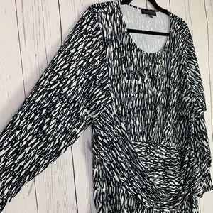 Eloquii | long sleeve dress | black white